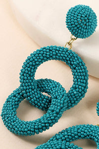 Statement Rings of Beads Earrings (Teal)