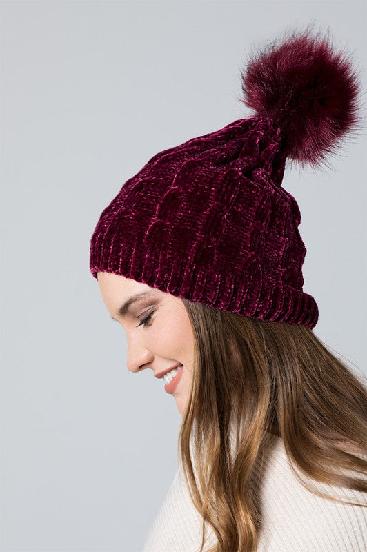 Cable Knit Beanie with Fur Pom Pom