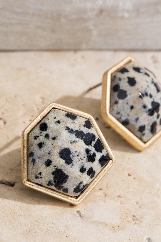Natural Stone Hexagon Earrings