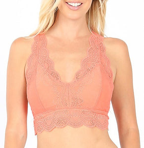 Lace Hourglass Back Bralette (Coral)