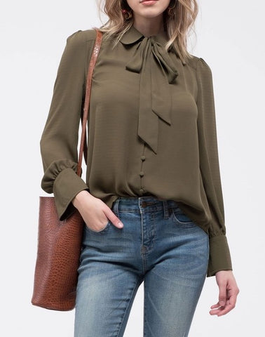 Tie-Neck Button Down Top
