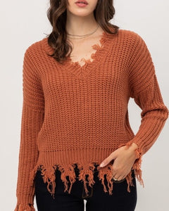 Oversized Fringed Sweater (Terra Cotta)