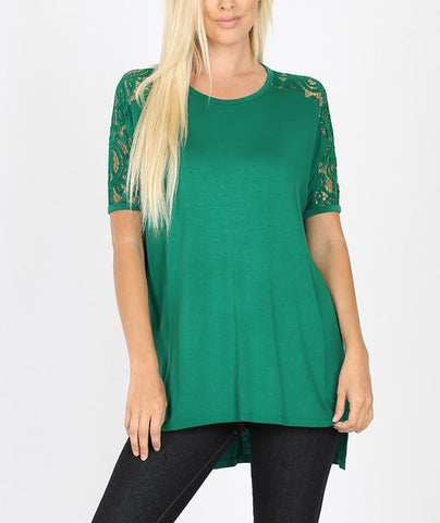 Lace Sleeve Top (Forest Green)