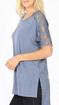 Lace Sleeve Top (Cement)