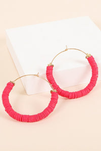 Round Cut Rubber Metal Wire Hoop Earrings