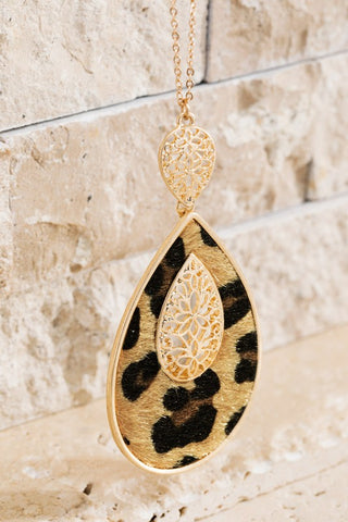 Faux Fur Animal Print Teardrop Pendant Necklace