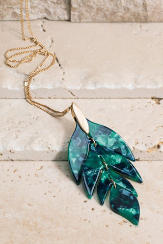 Arrow Leaf Resin Necklace