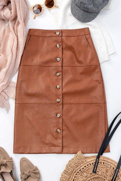 Leather Button Down Skirt