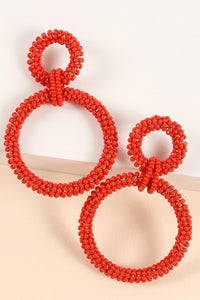 Double Beaded Linked Earrings (Red)
