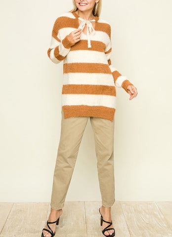 Block Stripe Oversized Pullover