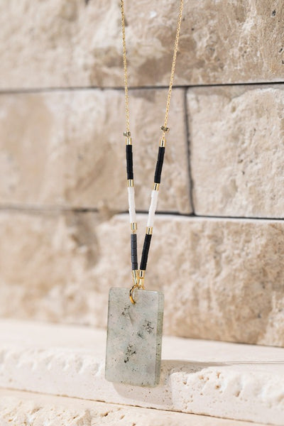 Rectangle Natural Stone Necklace (Labradorite)