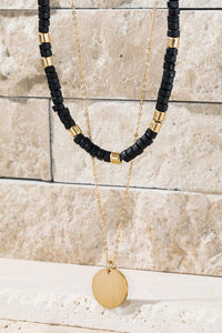 Wooden Beaded Necklace (Black)