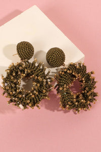 Seed Beads Round Earrings (Olive)