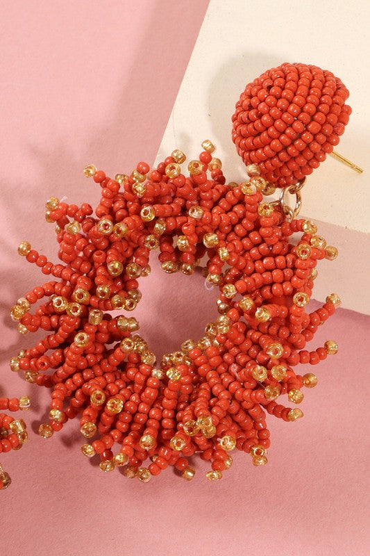 Seed Beads Round Earrings (Red)