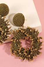 Load image into Gallery viewer, Seed Beads Round Earrings (Olive)