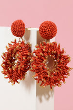 Load image into Gallery viewer, Seed Beads Round Earrings (Red)