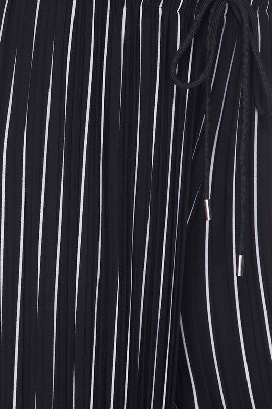 Striped Pleated Drawstring Pants
