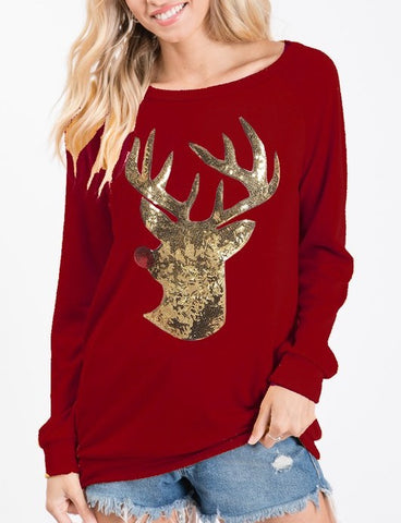 Pullover Sweater with Rudolph Sequin Patch