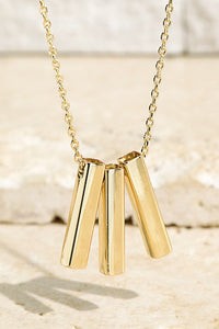 Brass Bar Pendant Necklace