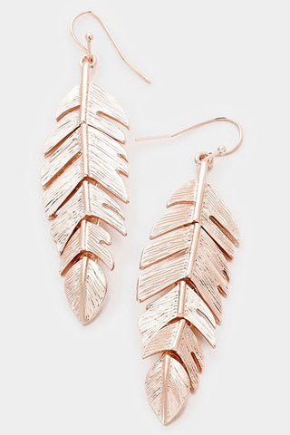 Metal Feather Earrings (Rose Gold)