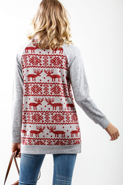 Rudolph Print Turtle Neck Top