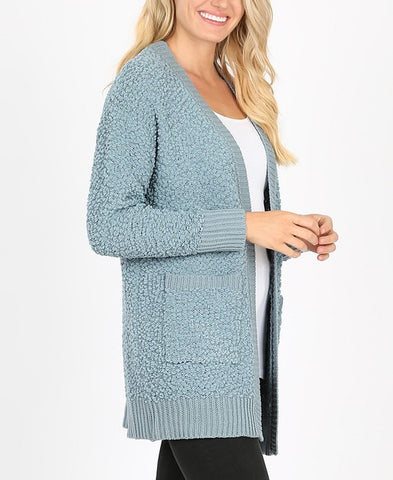 Long Sleeve Popcorn Cardigan with Ribbed Detail