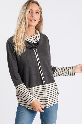 Double Cowl Neck Top With Stripe Cuffs And Bottom