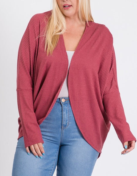Back Patch Open Front Cardigan (PLUS)