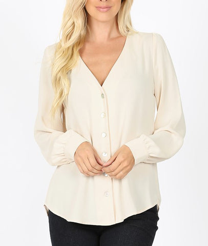 Woven Long Sleeve Blouse