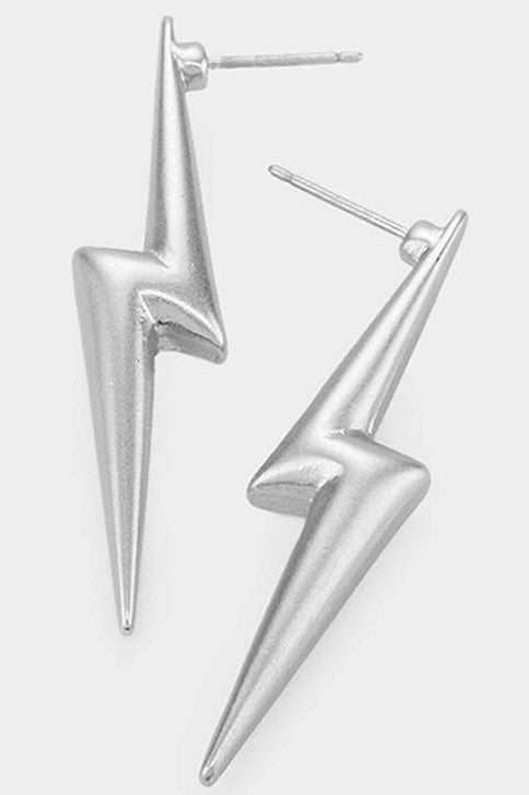 Metal Lightning Earrings (Silver)