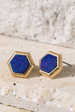 Load image into Gallery viewer, Hexagon Faux Druzy Earrings