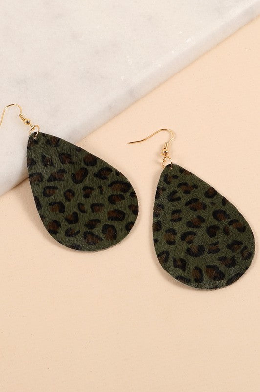 Animal Print Tear Drop Earrings (Green)