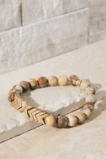 Load image into Gallery viewer, Chevron & Stone Bracelet