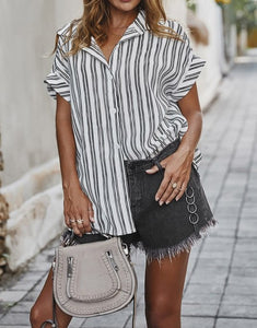 Striped Boyfriend Button Down Blouse