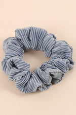 Load image into Gallery viewer, Pleated Solid Hair Scrunchy (Blue)