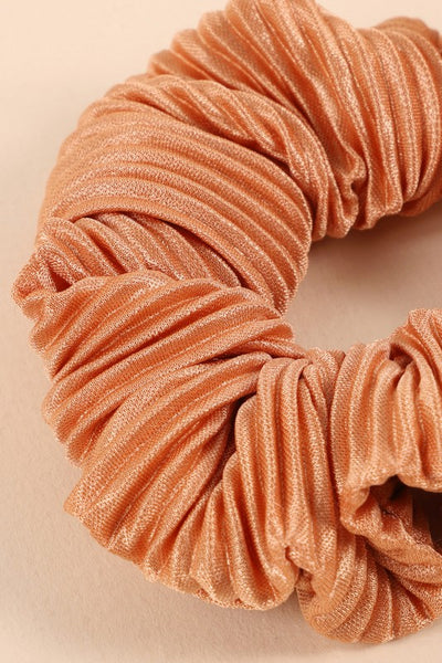 Pleated Solid Hair Scrunchy (Peach)