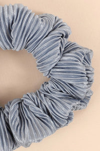Pleated Solid Hair Scrunchy (Blue)