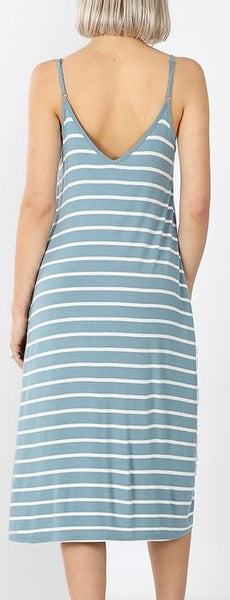 V Neck Stripe Dress (Blue Grey)