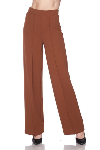 Knit Crepe Pleat Straight Cut Pants