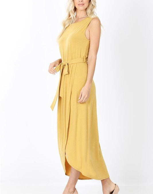Belted Sleeveless Tulip Dress
