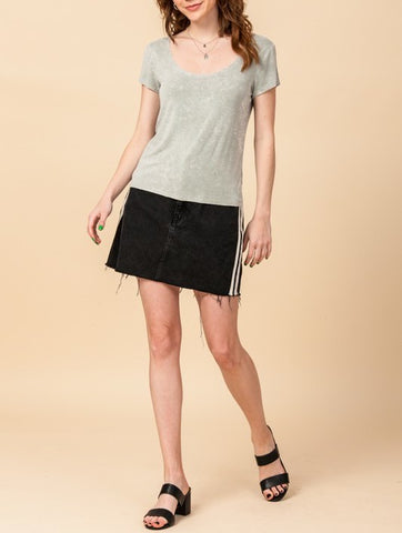 Garment Washed Short Sleeve Top (Smoke Green)