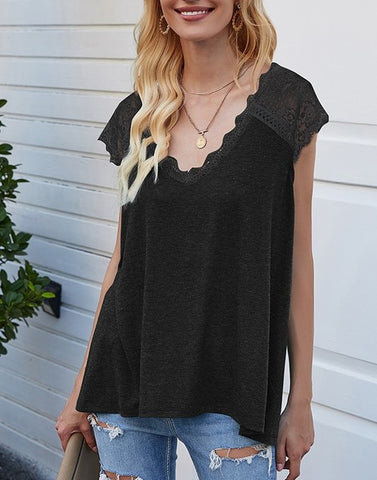 Heather Lace Trim Top