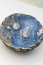 Load image into Gallery viewer, Hexagon Stone Earrings