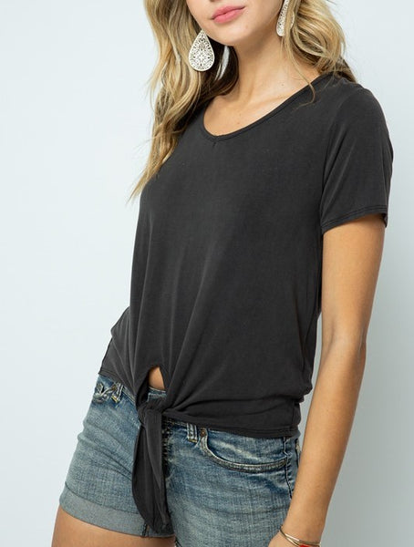 Soft V Neck Top with Front Tie