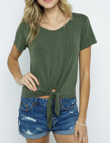 Soft V Neck Top with Front Tie (Olive)