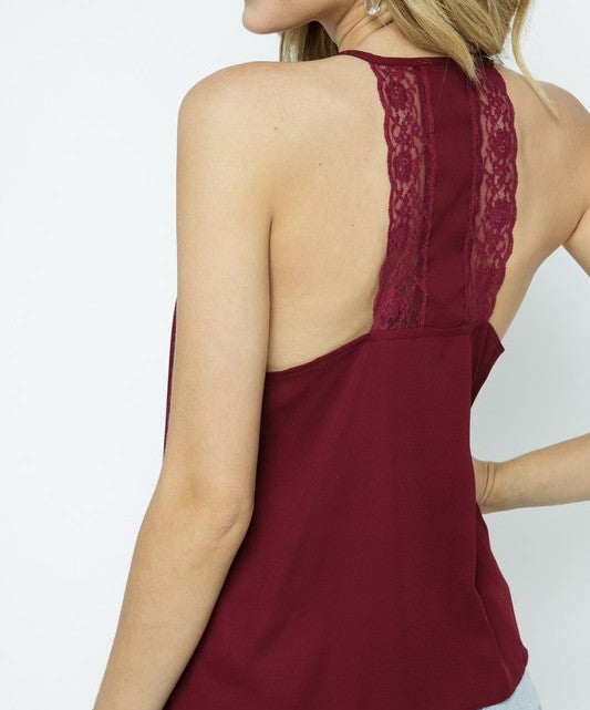 Spaghetti Tank with Lace Insert (Wine)