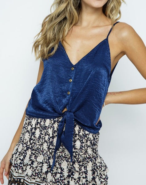 Front Tie Button Down Tank (Navy)
