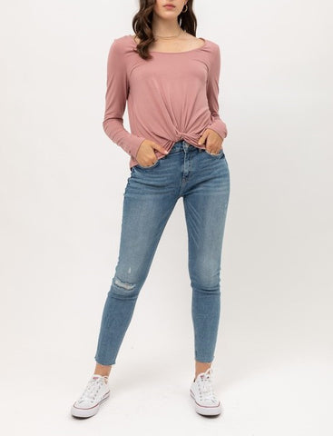 Front Twisted Long Sleeve Top (Mauve)