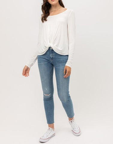Front Twisted Long Sleeve Top (White)