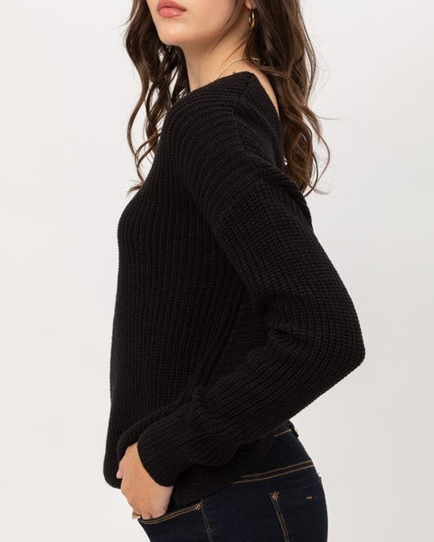 PLUS Front Twisted Long Sleeve Top (Black)